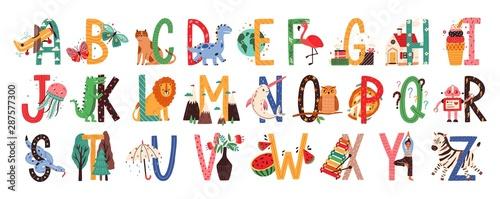 Fotografia English alphabet with cute animals vector illustrations set