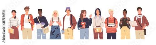 Fotografija Group of multicultural students flat vector illustration