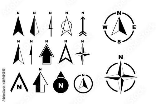 Fotografie, Obraz set of compass or north arrow concept. easy to modify