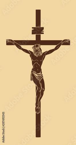 Billede på lærred Vector illustration of religious symbol crucifix