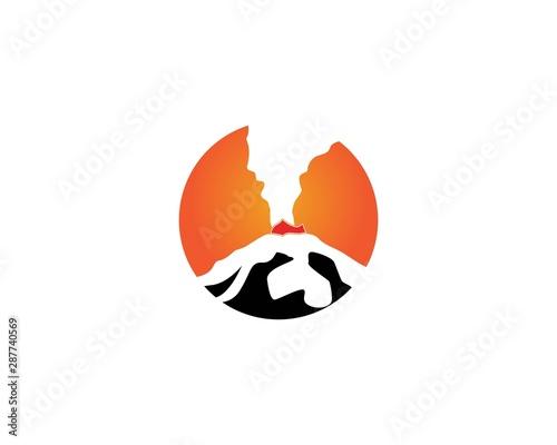 Volcano eruption logo  vector illustration on white background stock illustration Fototapete