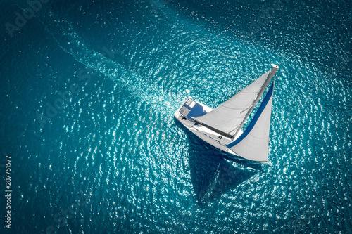 Fototapeta Regatta sailing ship yachts with white sails at opened sea