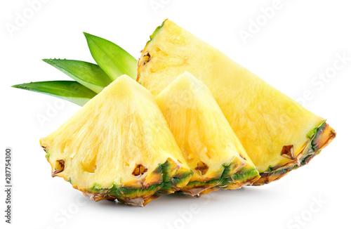 Obraz na płótnie Pineapple slices with leaves