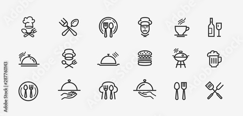 Zestaw ikon żywności. Kolekcja wektor czarny zarys logo dla aplikacji mobilnych lub projektowanie stron internetowych