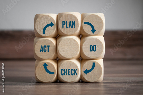 Cubes dice with lightbulb an pdca concept - plan do check act on wooden backgrou Fotobehang