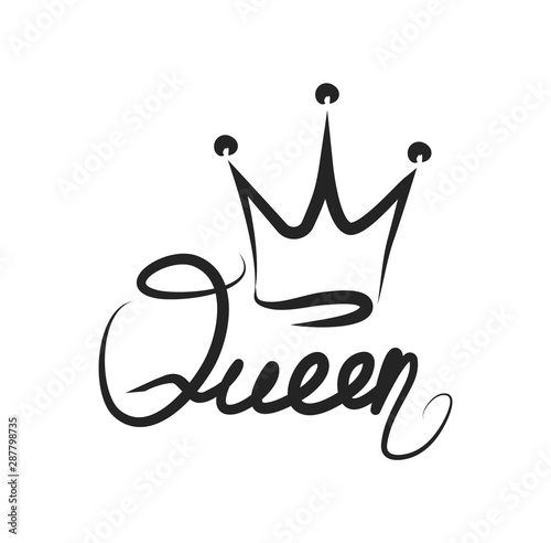 Fotografie, Obraz Inscription queen with a sketch of the crown.