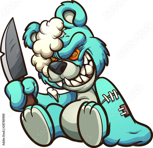 Scary evil teddy bear holding a big knife clip art. Vector illustration with simple gradients. All in a single layer.