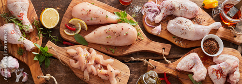 Panorama banner of raw chicken portions Poster Mural XXL