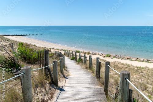 Obraz na płótnie Gateway to the beach scenic dunes panorama on a bright summer day in Isle de Noi