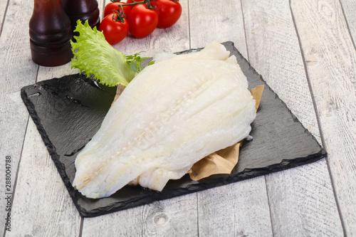 Canvas Print Raw halibut fillet