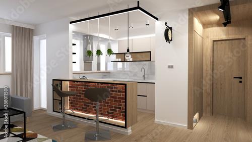 Fototapeta premium Loft interior in modern flat