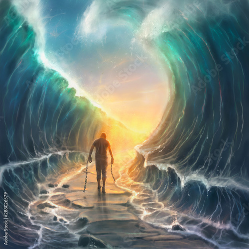 Obraz na płótnie Man with chains and parted sea