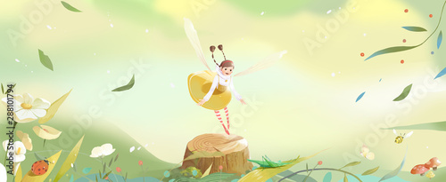 Spring, Insects, Children, Fairy Tales, Fantasy, Fantasy, Elves, Plants, Flow...