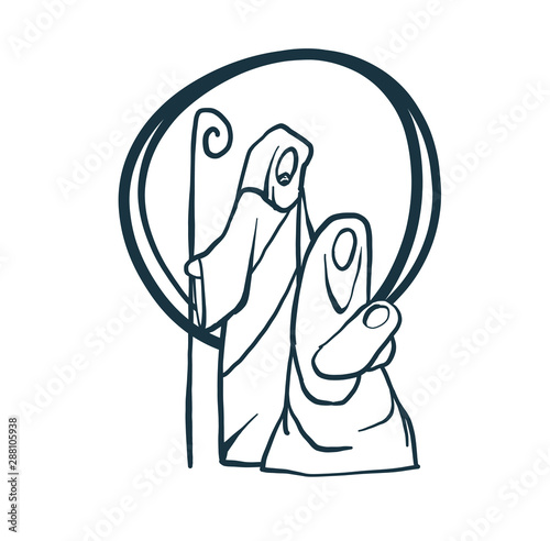 Wallpaper Mural Drawing, Bible Merry christmas scene of holy family. Vector