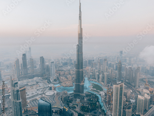 Aerial of the Burj Khalifa while sunrise in Dubai, United Arab Emirates Fotobehang