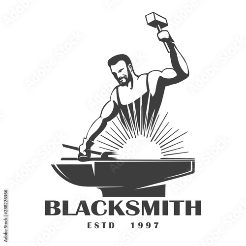 Fotografia Blacksmith Emblem in Engraving Style. Vector Illustration.