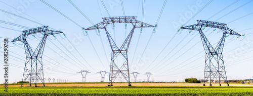 Photo Panoramic view of a row of electricity pylons in the countryside with dozens of other pylons in the distance