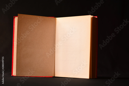 Obraz na plátně open old book isolated on black background