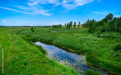 Slika na platnu A narrow water canal, river, stream going through a green grass field landscape into bright summer clouds