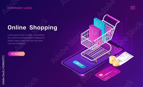 Photo Online shopping, isometric concept vector illustration