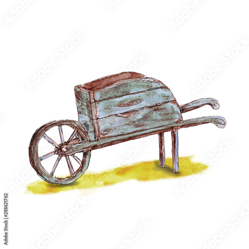 Photo Watercolor hand drawn artistic garden wooden barrow with isolated on white backg