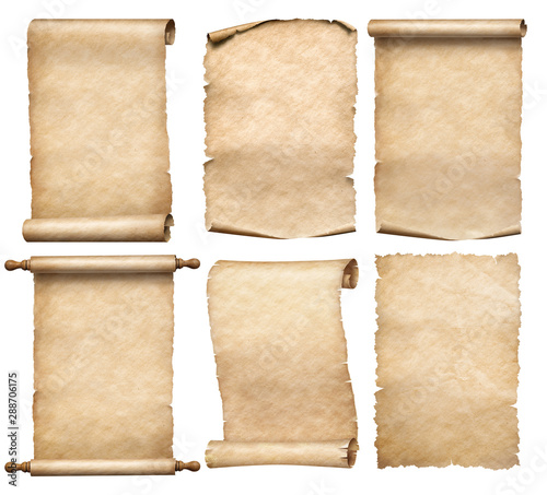 Fotografie, Obraz old papers or parchment six scrolls or parchments set isolated