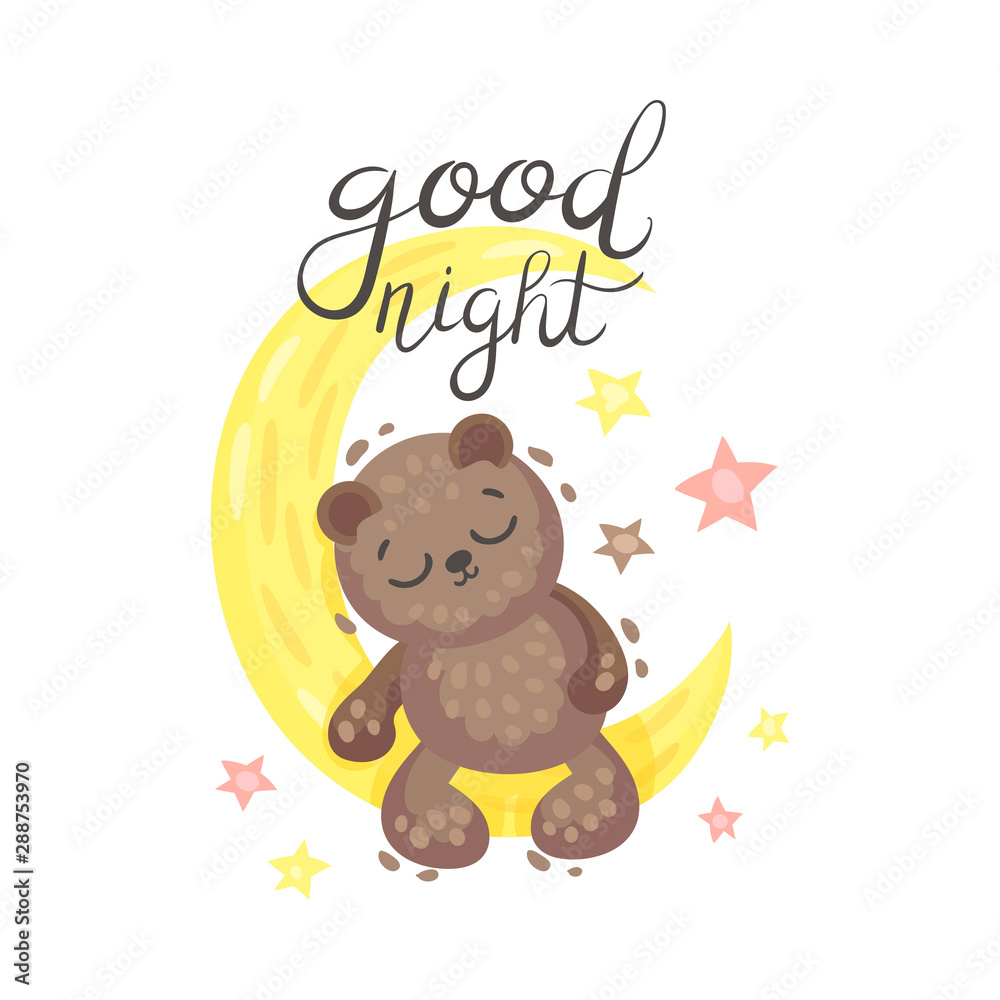 Teddy bear sleeps on the moon. Vector illustration on a white background. <span>plik: #288753970 | autor: Happypictures</span>