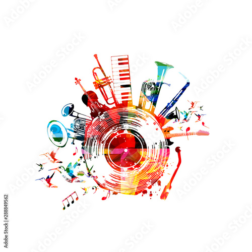 Obraz na plátně Music background with colorful music instruments and vinyl record disc vector illustration