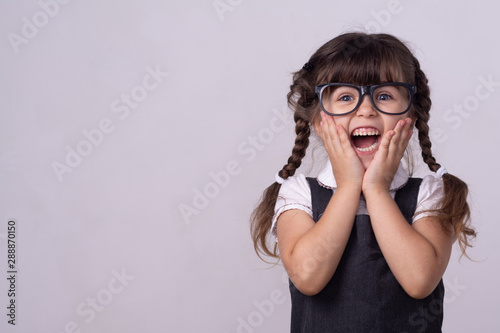 Fotografie, Obraz Excited girl with wow face expression