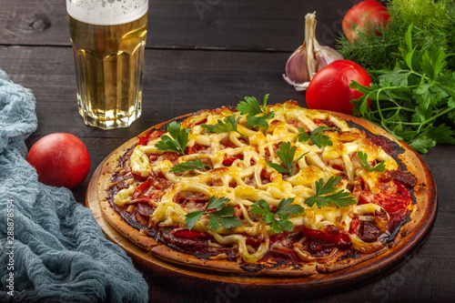 Homemade pizza with meat, sausage, cheese and tomatoes Poster Mural XXL