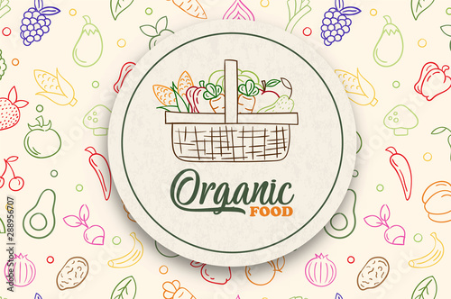 Fotografie, Obraz Organic vegetable food label with green fruit icon