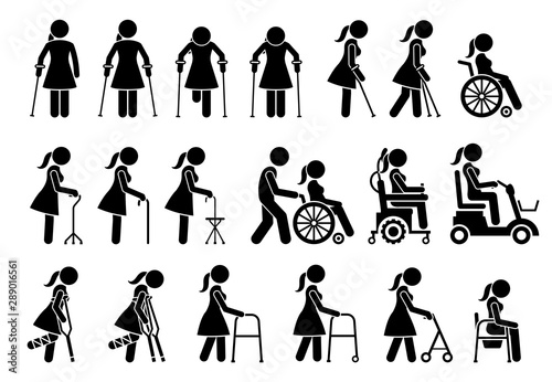 Fotomural Mobility aids medical tools and equipment stick figure pictogram icons