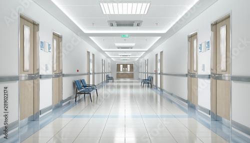 Fotografia, Obraz Long hospital bright corridor with rooms and seats 3D rendering