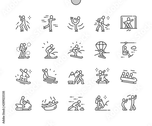 Fotografia Leisure activities in winter Well-crafted Pixel Perfect Vector Thin Line Icons 30 2x Grid for Web Graphics and Apps