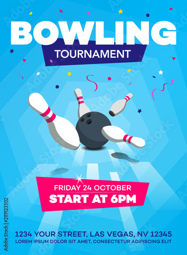 Cuadros en Lienzo Modern bowling tournament poster invitation template with scattered skittles and bowling ball - blue version
