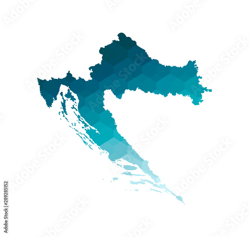 Photo Vector isolated illustration icon with simplified blue silhouette of Croatia map