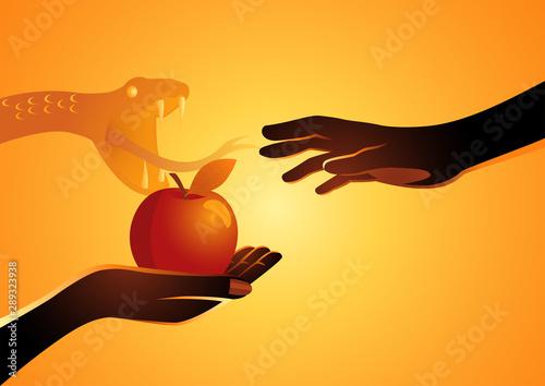 Obraz na płótnie Eve offering the apple to Adam