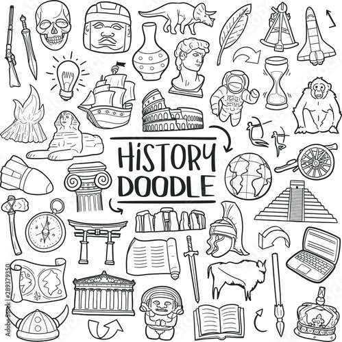 History of Humanity Subject. Traditional Doodle Icons. Sketch Hand Made Design Vector Art.