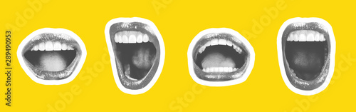 Fotografia Collage of contemporary art in the style of a magazine with a set of female emotional lips