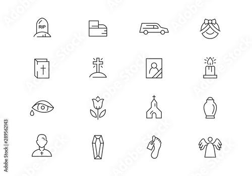 Stampa su Tela Funeral thin line vector icons. Editable stroke