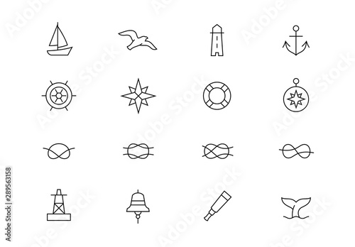 Obraz na plátne Nautical thin line vector icons. Editable stroke