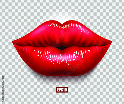 Canvas Print Red sexy female lips isolated on a transparent background, an air kiss, beautiful lips, beauty, red lipstick, cosmetics