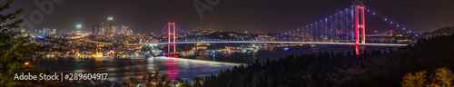 Istanbul Bosphorus panoramic photo. Istanbul landscape beautiful sunset with clouds Ortakoy Mosque,Bosphorus Bridge, Fatih Sultan Mehmet Bridge, Yavuz Sultan Selim Bridge Istanbul Turkey