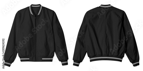 Photo Set of blank jacket bomber black with white stripe color in front and back view isolated on white background