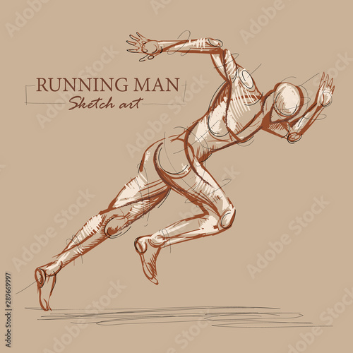 Photo Brown toned modern stylised sketch of a running athletic man with a muscular body sprinting at speed leaning forwards into his stride, vector illustration