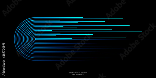 Vector half circles lines flowing dynamic pattern in blue green colors isolated Fototapeta