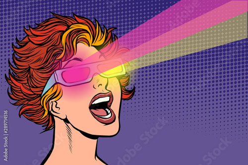 Woman in movie stereo glasses