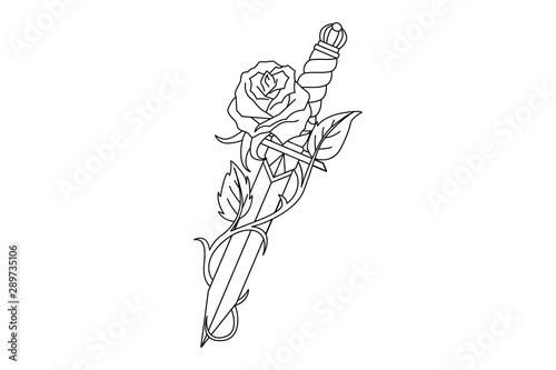 Fotografering Traditional tattoo with rose flower and dagger knife.