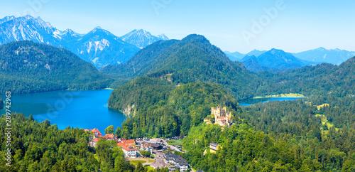 Fototapeta Landscape with Hohenschwangau Castle, Bavaria, Germany