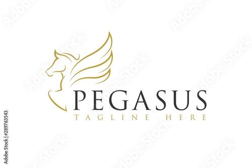 Carta da parati Line art Pegasus Horse Logo Icon Vector Inspiration